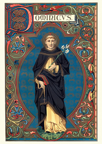 Vintage engraving of Saint Dominic, also known as Dominic of Osma and Dominic of Caleruega, often called Dominic de Guzman and Domingo Felix de Guzmán (August 8, 1170 – August 6, 1221), was a Castilian priest and founder of the Dominican Order. Dominic is the patron saint of astronomers.