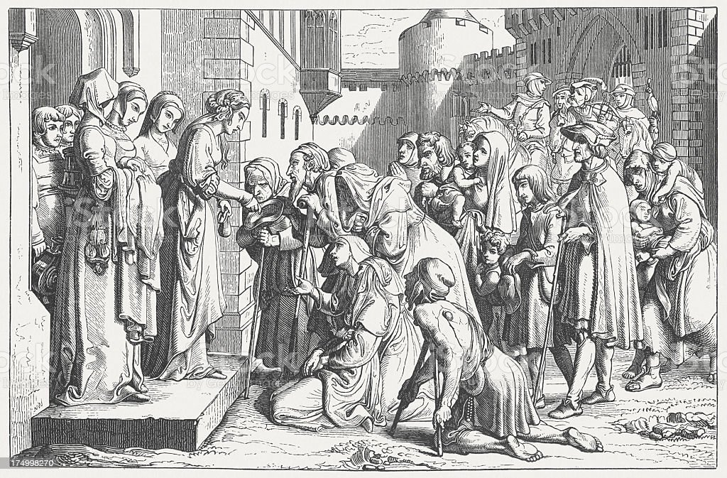 Saint Elizabeth (1207-1231) at the Wartburg and helps the poor royalty-free stock vector art