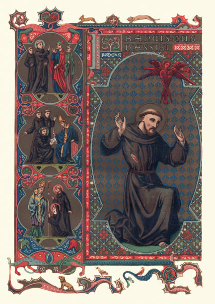Saint Francis of Assisi Vintage engraving of Saint Francis of Assisi an Italian Roman Catholic friar, deacon and preacher. friar stock illustrations