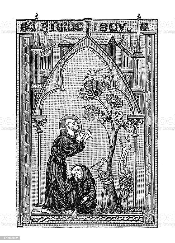 Saint Francis of Assisi Talks to Birds, circa 13th Century royalty-free stock vector art