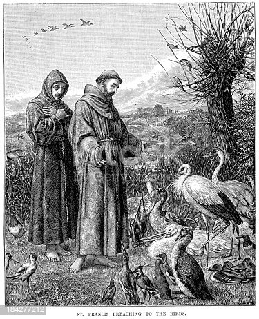 Vintage engraving from 1879 of Saint Francis preaching to the Birds