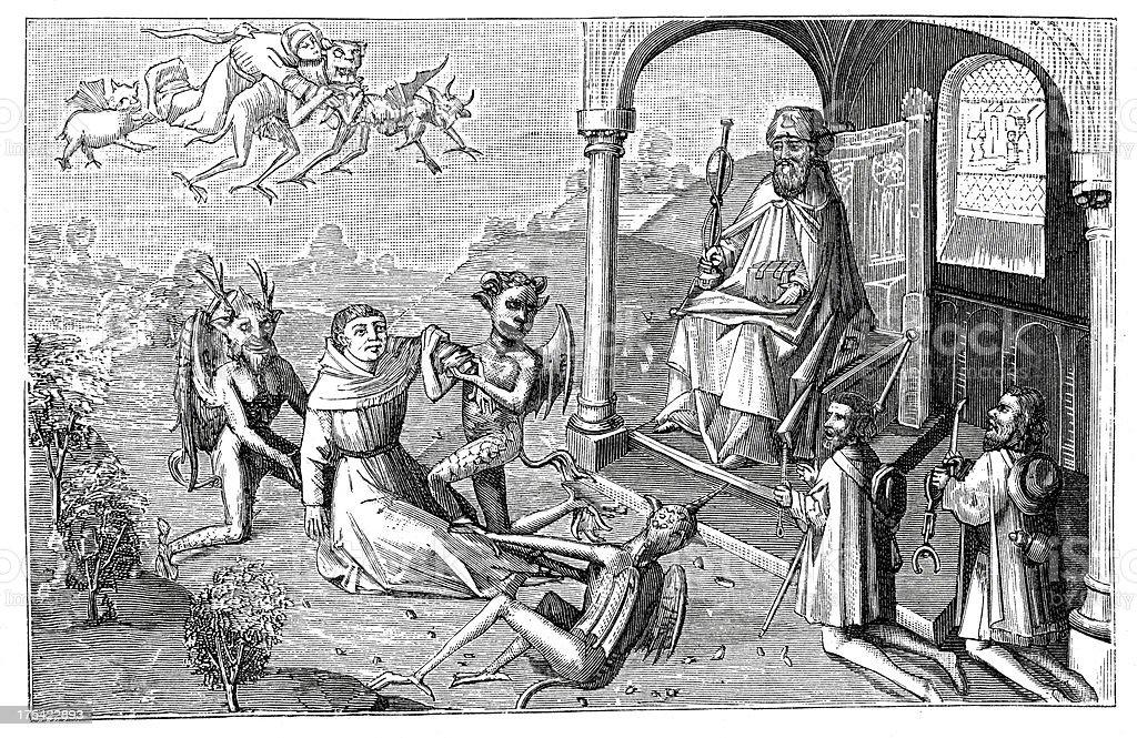 Saint James and the Magician Hermogenes vector art illustration