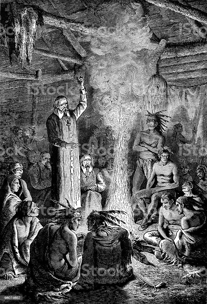 Saint Jean de Brebeuf Confronts the Huron Indian Council royalty-free saint jean de brebeuf confronts the huron indian council stock vector art & more images of 17th century style