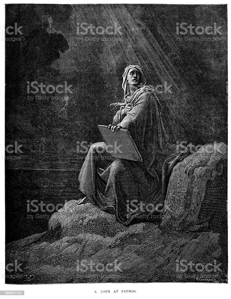 Saint John at Patmos vector art illustration