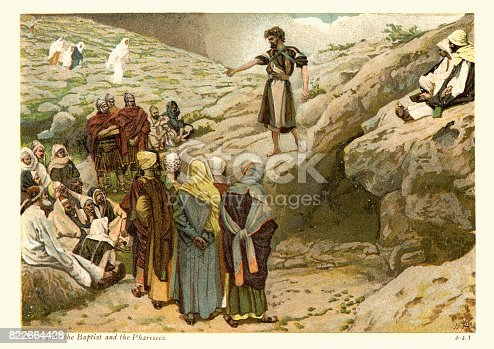 Vintage engraving  by J. James Tissot, showing Saint John the Baptist and the Pharisees