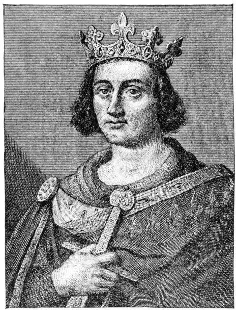 saint louis king of france , engraving 1894 - st louis stock illustrations