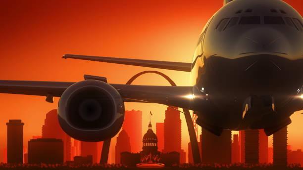 saint louis missouri usa america skyline sunrise take off - st louis stock illustrations
