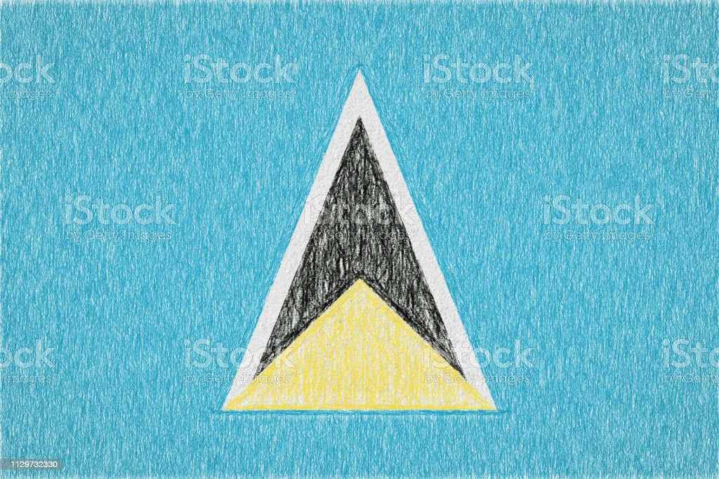 Saint Lucia målade flagga - Royaltyfri Baner - Skylt Illustrationer