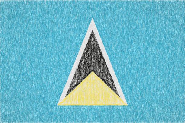 bildbanksillustrationer, clip art samt tecknat material och ikoner med saint lucia målade flagga - lucia