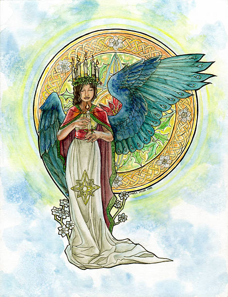 bildbanksillustrationer, clip art samt tecknat material och ikoner med saint lucy inspired angel with candle crown and stained glass - lucia