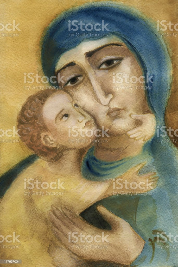 Saint Mary with the Child Jesus royalty-free saint mary with the child jesus stock vector art & more images of 0-11 months