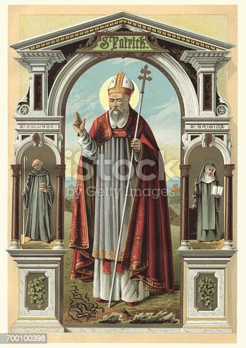 Vintange illustration of Saint Patrick, a fifth century Romano British Christian missionary and bishop in Ireland. Known as the Apostle of Ireland, he is the primary patron saint of Ireland.