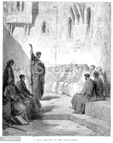 Vintage engraving from the 1870 of a scene from the New Testament by Gustave Dore showing Saint Paul preaching to the Thessalonians