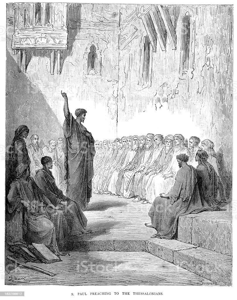 Saint Paul preaching to the Thessalonians vector art illustration