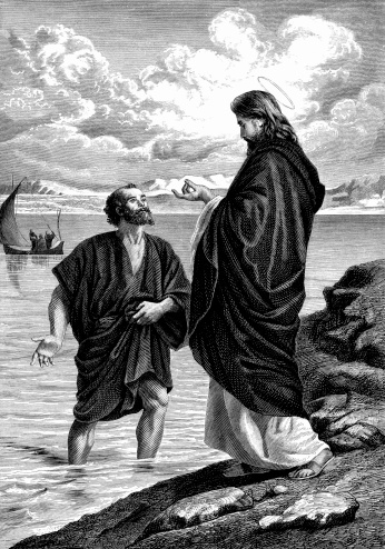 Saint Peter Leaps from his Boat to Meet Jesus Christ