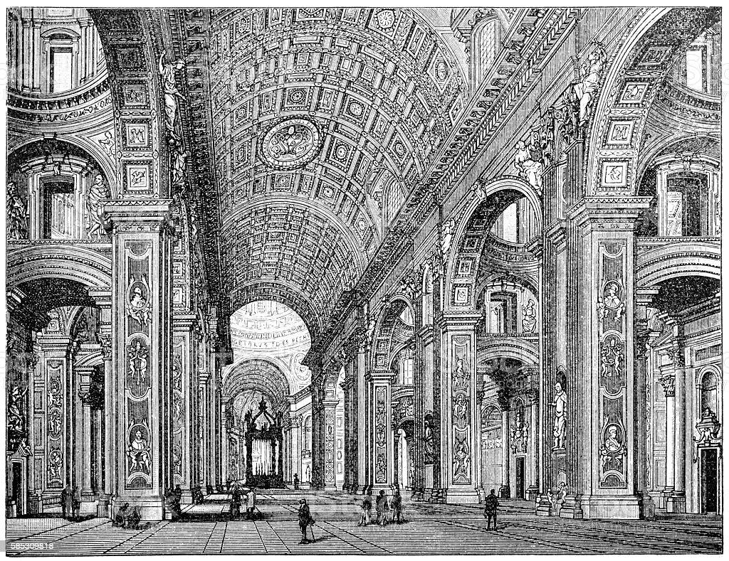 Saint Peter's Basilica interior, Rome, Italy vector art illustration