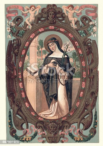 Vintage engraving of Saint Rose of Lima  (April 20, 1586 – August 24, 1617), was a member of the Third Order of Saint Dominic in Lima, Peru, who became known for both her life of severe asceticism and her care of the needy of the city through her own private efforts.