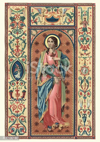 Vintange illustration of Saint Susanna, virgin and martyr, is said to have been the daughter of Saint Gabinus of Rome. According to her Acts, she was beheaded about the year 295, at the command of Diocletian