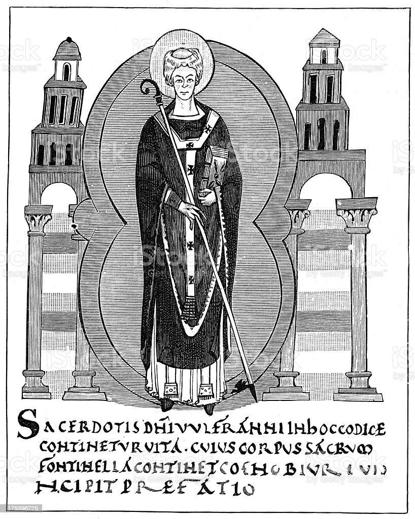Saint Wulfram of Sens royalty-free stock vector art