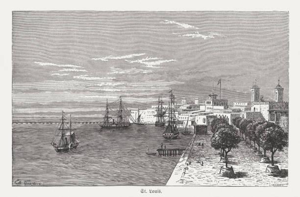 saint-louis, senegal, wood engraving, published in 1868 - st louis stock illustrations