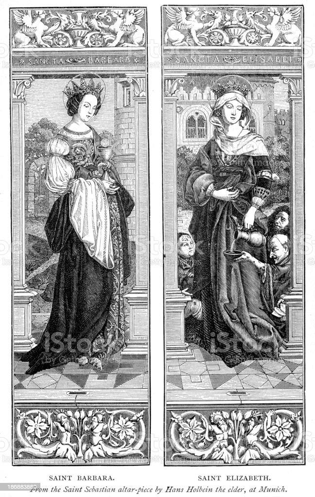 Saints BarBara and Elizabeth royalty-free stock vector art