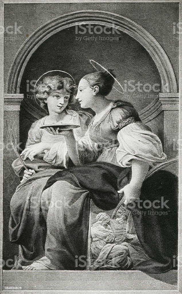 Saints Lucia And Apollonia royalty-free stock vector art
