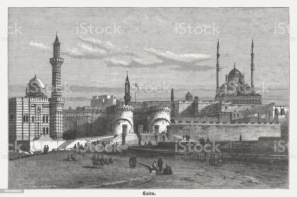Saladin Citadel and Mosque of Muhammad Ali, Cairo, published 1882 vector art illustration