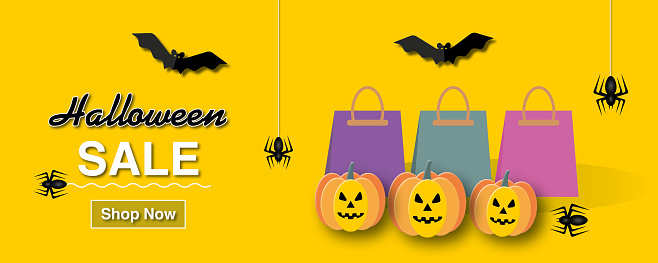 Sale Banner for Happy Halloween holiday with monster on a orange background.