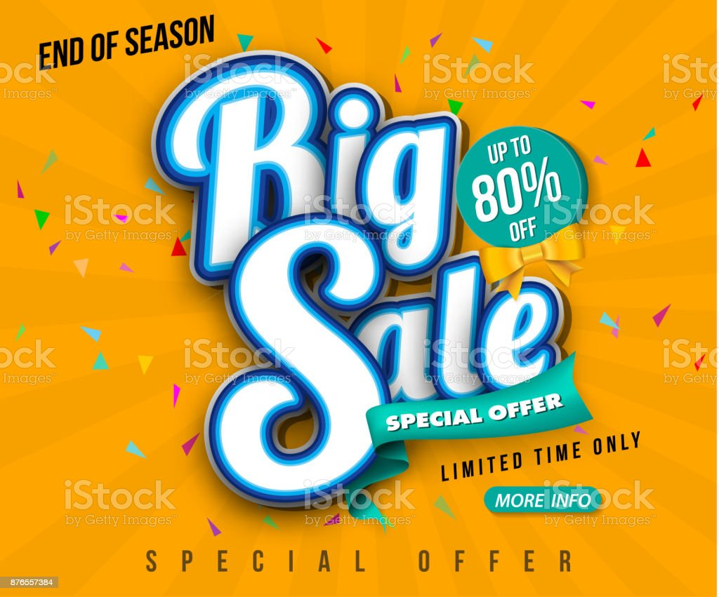 Sale banner template design, Big sale special up to 80% off. Super Sale, end of season special offer banner. vector illustration. vector art illustration