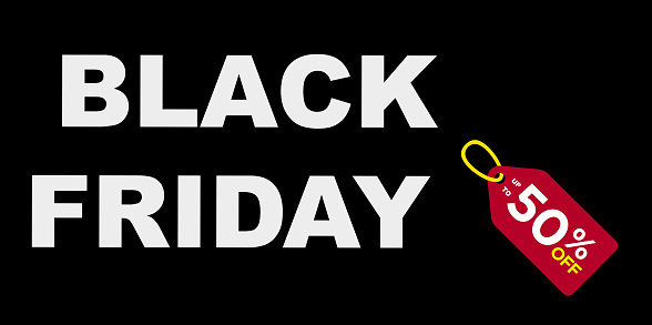 Sales day of Black Friday with white and black background and sign of 50% off