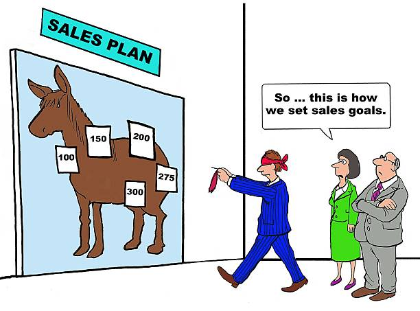 Sales Goals Business cartoon showing blindfolded businessman playing pin the tail on the donkey 'Sales Plan'.  Businesswoman is watching and saying, 'So... this is how we set sales goals'. arbitrary stock illustrations