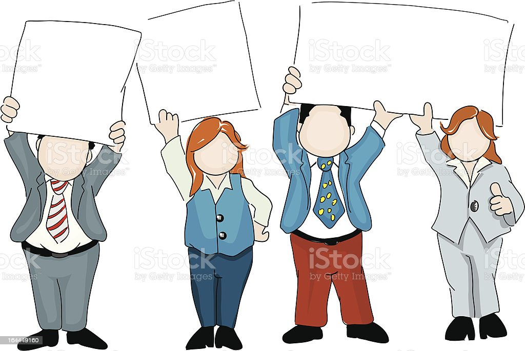 Sales team with signs royalty-free stock vector art