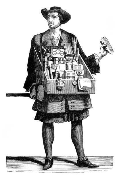 Salesman on the road selling brush and eyeglasses 1680 vector art illustration