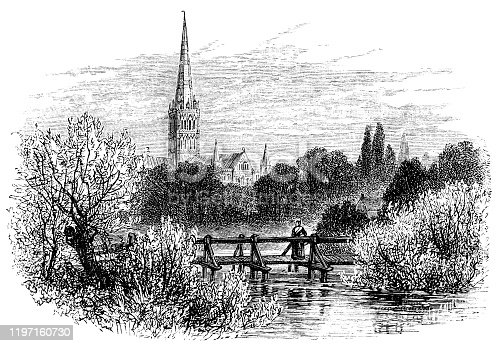 Salisbury Cathedral in Salisbury, England, Uk. Vintage etching circa 19th century.