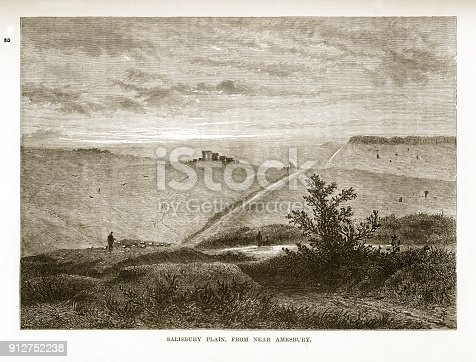 Very Rare, Beautifully Illustrated Antique Engraving of Salisbury Plain Near Amesbury Engraving from Our Own Country, Great Britain, Descriptive, Historical, Pictorial. Published in 1880. Copyright has expired on this artwork. Digitally restored.