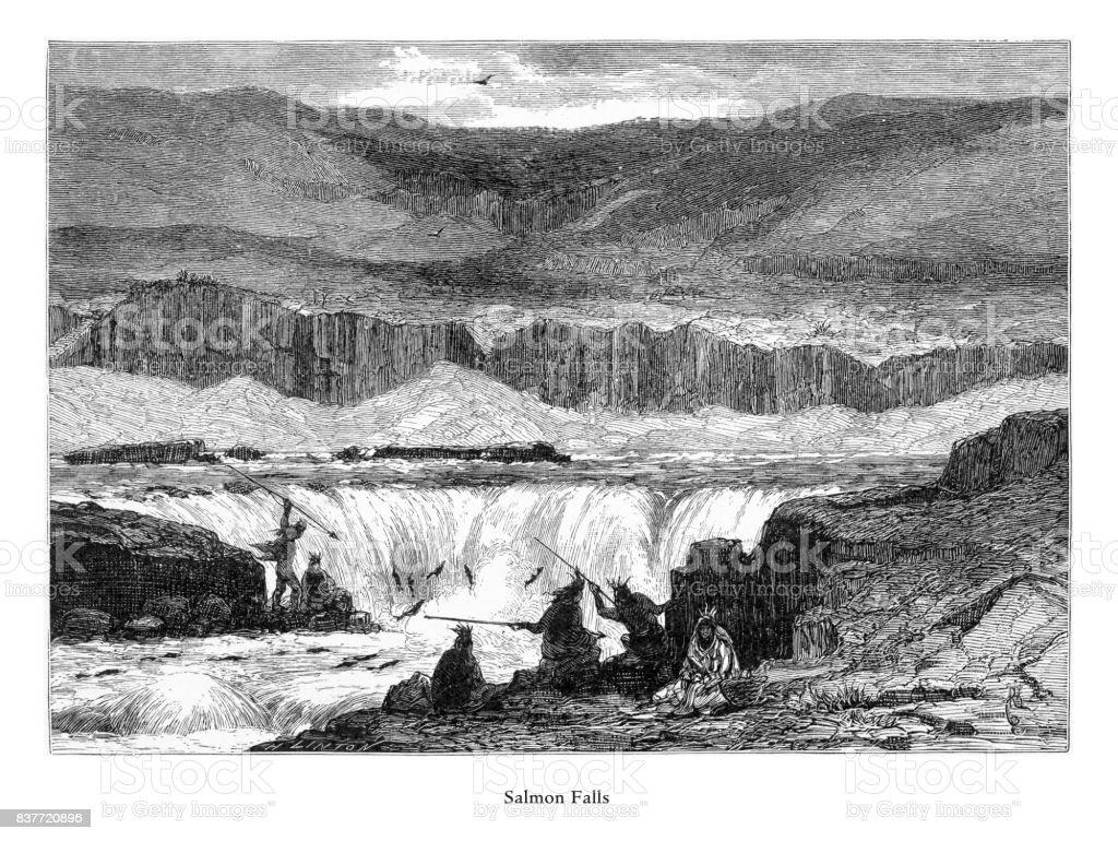 Salmon Falls, Columbia River, Oregon, United States, American Victorian Engraving, 1872 vector art illustration