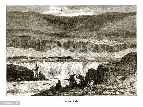 Very Rare, Beautifully Illustrated Antique Engraving of Salmon Falls, Columbia River, Oregon, United States, American Victorian Engraving, 1872. Source: Original edition from my own archives. Copyright has expired on this artwork. Digitally restored.