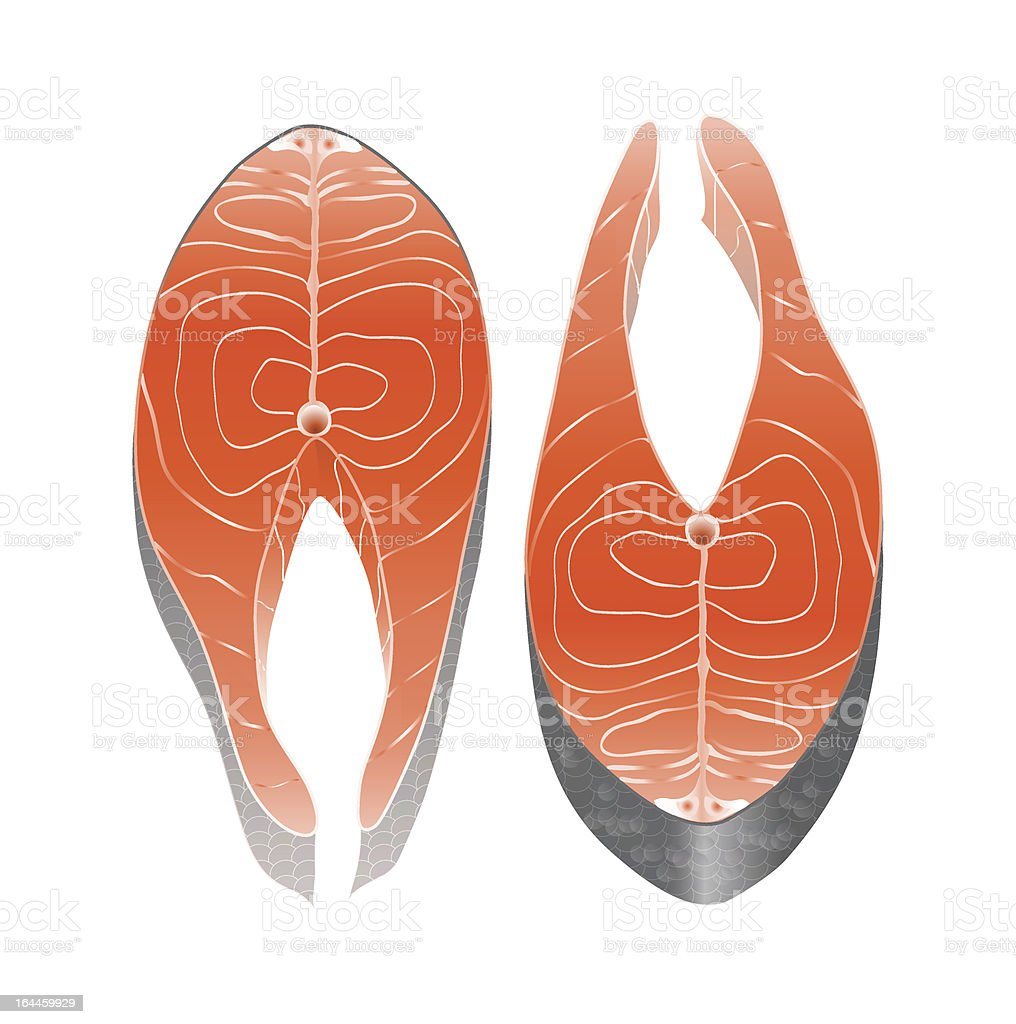 Salmon steaks vector art illustration