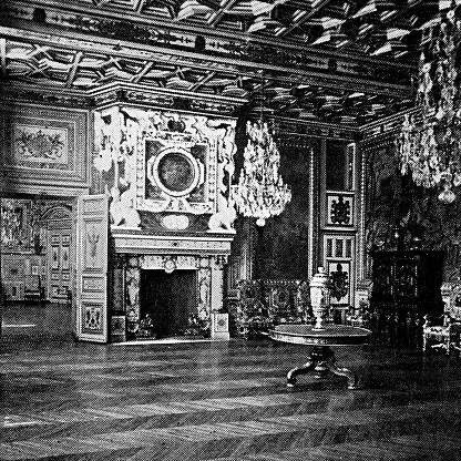 Salon of Francis I at Château de Fontainebleau in Fontainebleau, France - 19th Century
