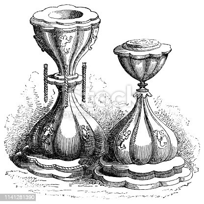 Salt cellars belonging to Elizabeth I, Queen of England from the Works of William Shakespeare. Vintage etching circa mid 19th century.
