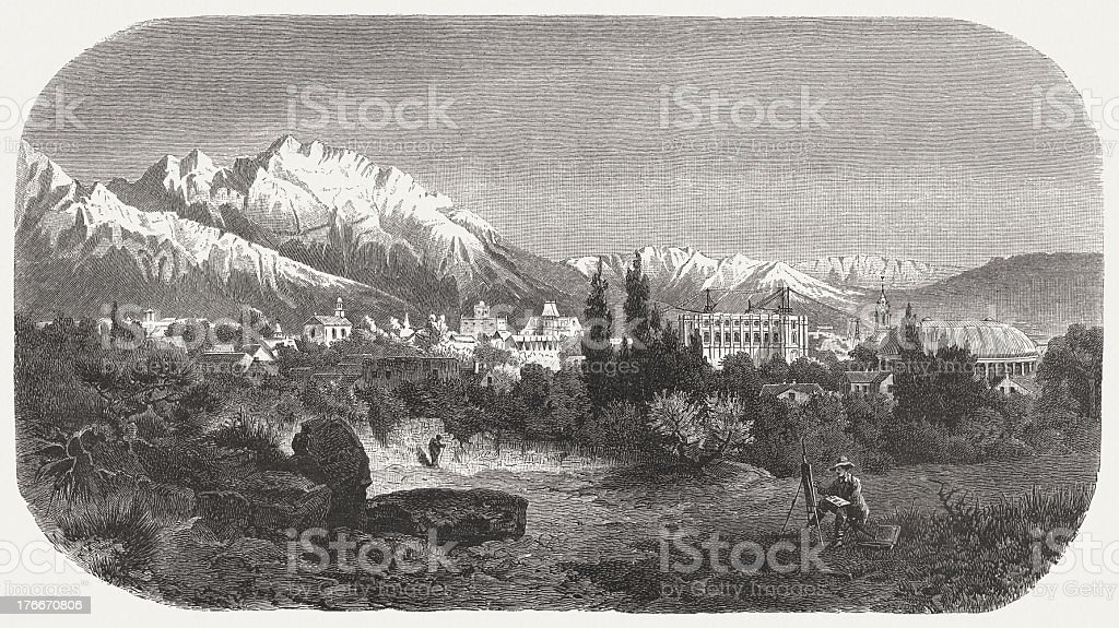 Salt Lake City, by rudolf Cronau, wood engraving, published 1883 royalty-free salt lake city by rudolf cronau wood engraving published 1883 stock vector art & more images of city