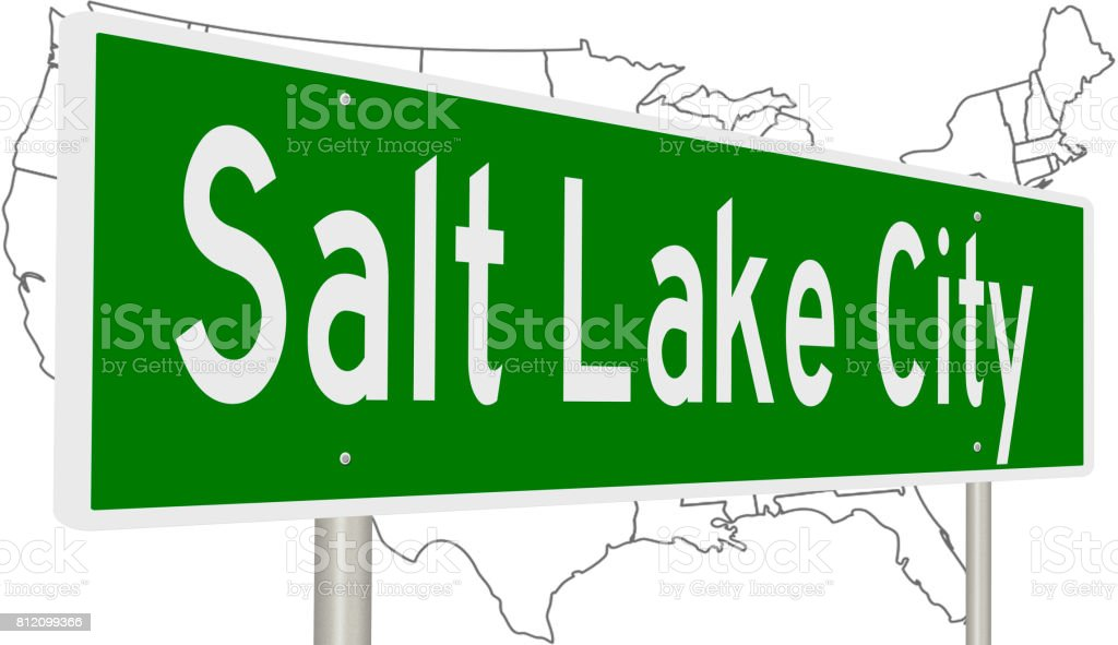 Salt Lake City Highway Sign With Us Map stock vector art 812099366