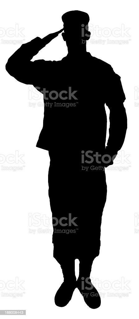 Saluting army soldier's  silhouette isolated on white vector art illustration