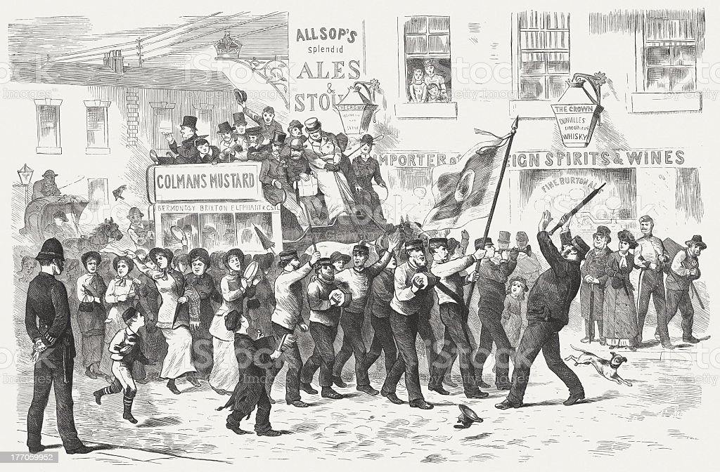 Salvation Army in London, wood engraving, published in 1883 royalty-free stock vector art