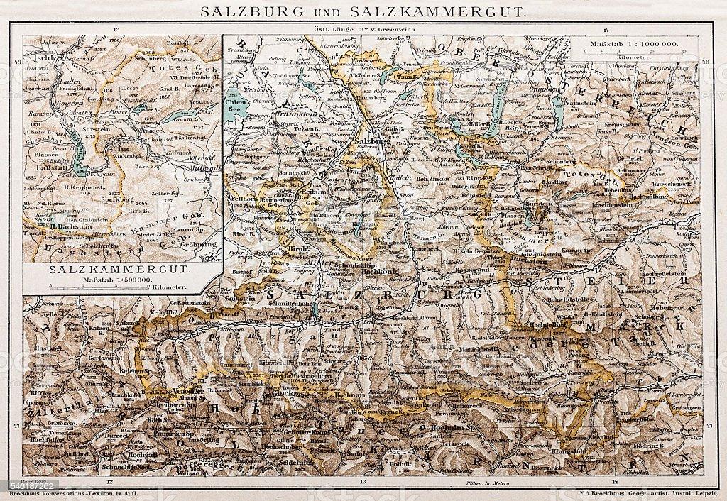 Salzburg and Lake District vector art illustration
