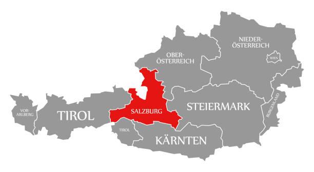 bildbanksillustrationer, clip art samt tecknat material och ikoner med salzburg red markerat i karta över österrike - salzburg