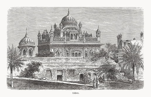 Historical view of the Samadhi of Ranjit Singh, an 18th-century building in Lahore (Pakistan), that houses the funerary urns of the Sikh ruler Ranjit Singh (1780 - 1839). Wood engraving, published in 1893.
