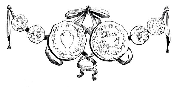 Samaritan coins depicting the Manna jug  in 2. Moses 16:33