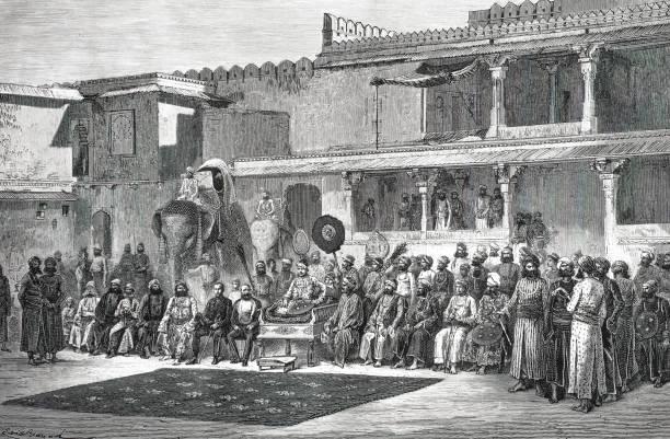 Samboe-sing, die Maharana von Udaipur und sein Gericht – Vektorgrafik
