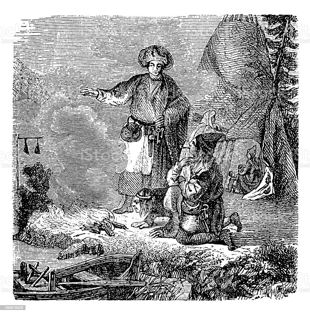 Sami people (antique wood engraving) royalty-free stock vector art